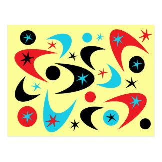 Bumerán rojo retro de Starburst del negro y de la  Tarjeta Postal