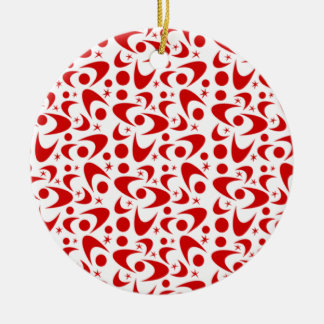 Bumeranes retros adaptables adorno navideño redondo de cerámica