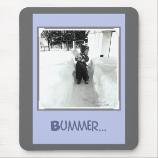 Bummer Boy with Snow Shovel Mouse Pad