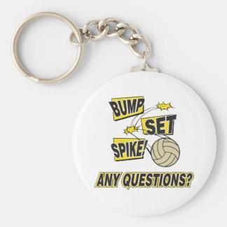 Bump Set Spike Volleyball Gift Basic Round Button Keychain