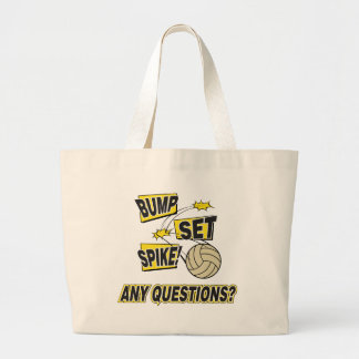 Bump Set Spike Volleyball Gift Large Tote Bag