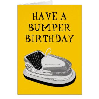 Bumper Car Birthday Card (Yellow)