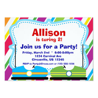 Bumper Cars, Carnival Circus Birthday Party Card
