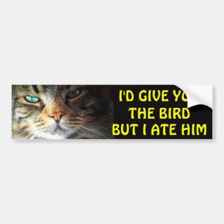 Bumper Cat Ate The Bird Anti Tailgating Bumper Sticker