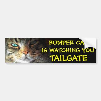 Bumper Cat is watching TAILGATE 2 (new font) Bumper Sticker