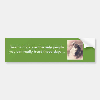 Bumper sticker about dogs and trust