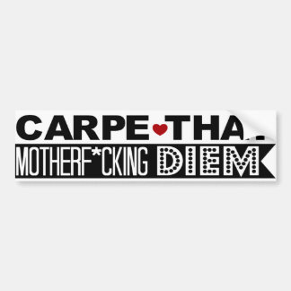 BUMPER STICKER: Carpe That Motherf*cking Diem! Car Bumper Sticker