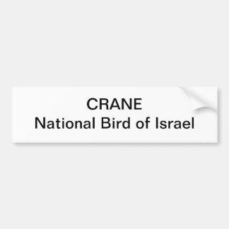 BUMPER STICKER - CRANE National Bird of Israel