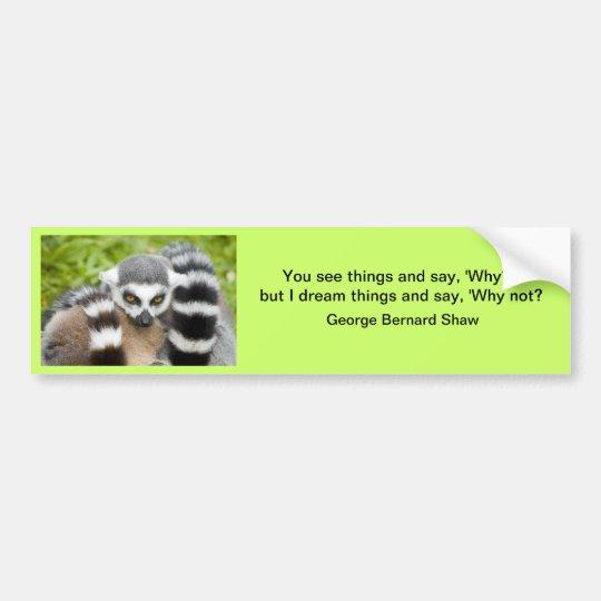 Bumper Sticker - Cute Lemur Stripey Tail