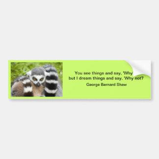 Bumper Sticker - Cute Lemur Stripey Tail Car Bumper Sticker