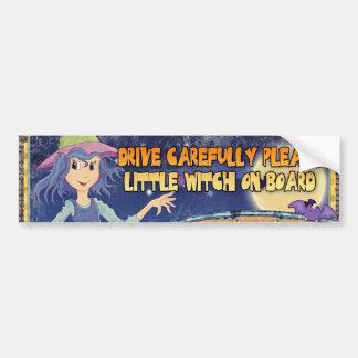 bumper sticker drive carefully please little witch