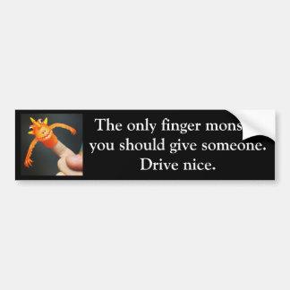 Bumper Sticker Drive Nice Finger Monster