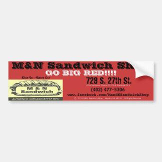 """Bumper Sticker (""""Go Big Red"""") - M&N Sandwich Shop Car Bumper Sticker"""