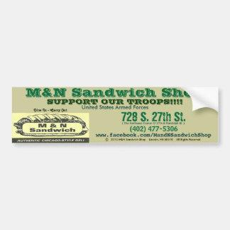 Bumper Sticker (Green/Troops) - M&N Sandwich Shop