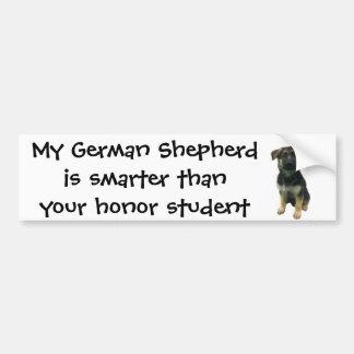 Bumper Sticker: My German Shepherd is smarter... Bumper Sticker