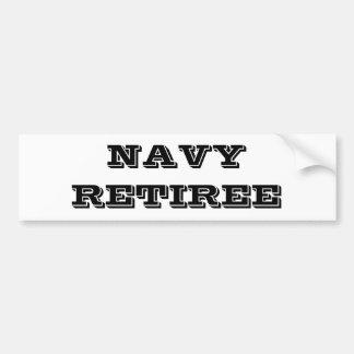 Bumper Sticker Navy Retiree