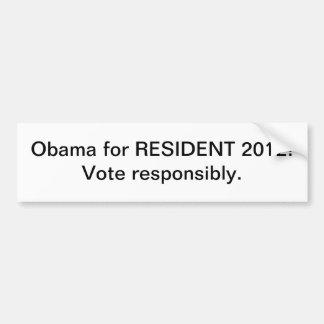 Bumper Sticker- Obama for Resident 2012 Car Bumper Sticker
