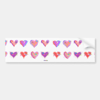 Bumper Sticker  - Pop Art Crazy Hearts 2