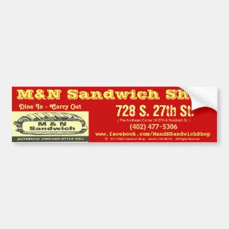 Bumper Sticker (Red) - M&N Sandwich Shop