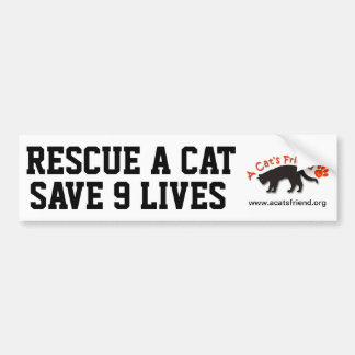 Bumper Sticker: Rescue a Cat Save 9 Lives Bumper Sticker