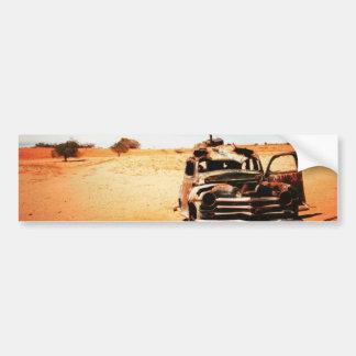bumper sticker, retro, car,desert, wreck