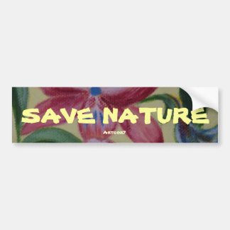 Bumper Sticker Save Nature Pink Flower Painting