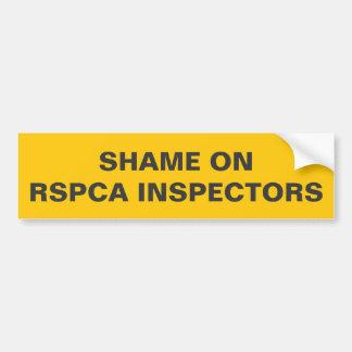 Bumper Sticker Shame On RSPCA Inspectors