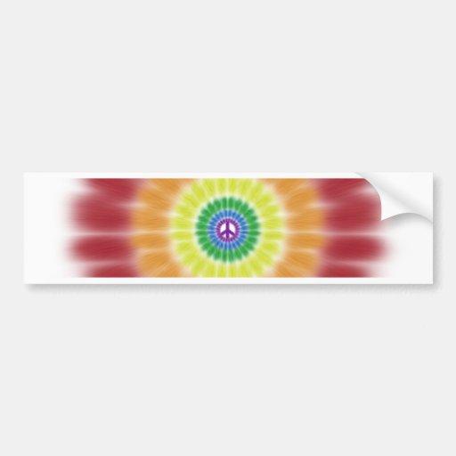 Bumper Sticker, Tie Dye Rainbow Peace Sign