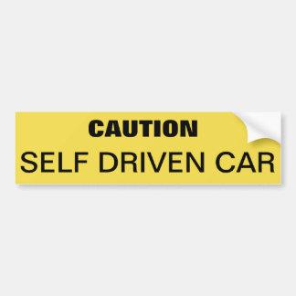 Bumper sticker to caution self driven car