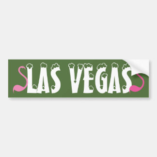 Bumper Sticker Visual Fun Las Vegas Pink Flamingos