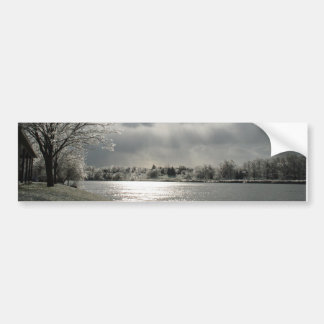 bumper sticker with photo of icy winter landscape