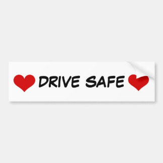 Bumper Sticker with Red Heart and Drive Safe Text