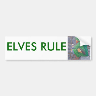 """Bumper Sticker with words """"Elves Rule"""""""