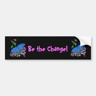 Bumpersticker Butterfly Blue  Be the Change! Bumper Sticker