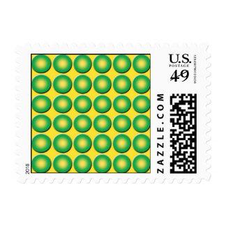 Bumpy yellow green pattern postage