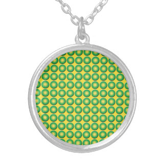 Bumpy yellow green texture round pendant necklace