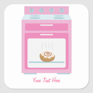 Bun In Oven (pink customizable) Square Sticker