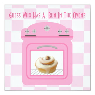 Bun In The Oven Baby Girl Pink Baby Shower Card