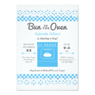 Bun In The Oven Boy Baby Shower Invitation
