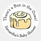 Bun in the Oven Cinnamon Roll Baby Shower Custom Classic Round Sticker