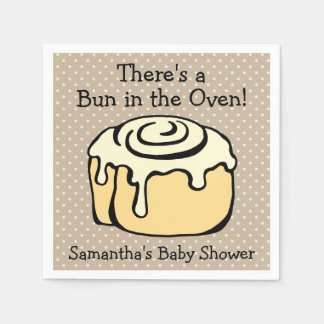 Bun in the Oven Cinnamon Roll Cute Baby Shower Paper Napkin