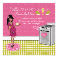 Bun In The Oven Girl African American Baby Shower Custom Announcement