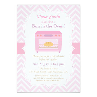 Bun in the Oven Pink Baby Shower Invitations