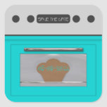 Bun in the oven; save the date sticker-aqua