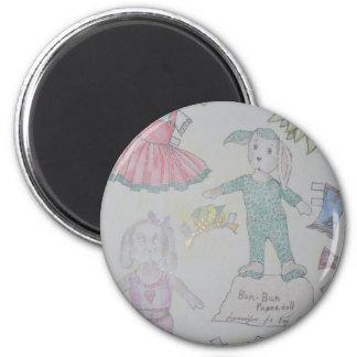 BunBun and Olga Paperdolls 2 Inch Round Magnet