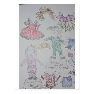 BunBun and Olga Paperdolls Postcard