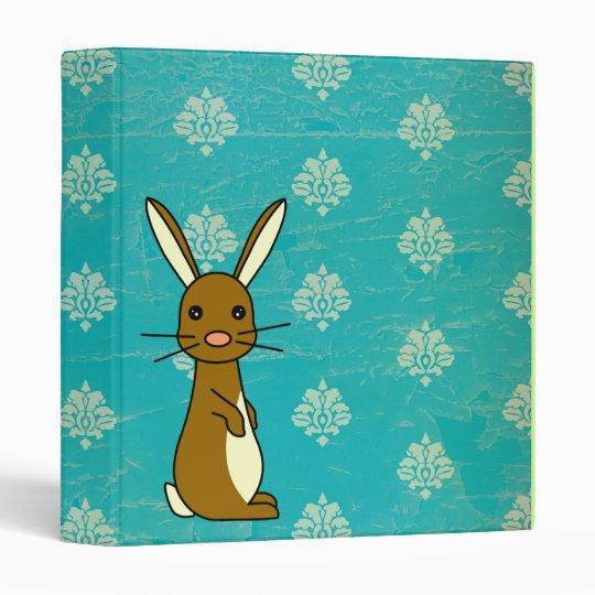 Bunbun - carpeta azul del damasco del conejo lindo