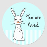 Bunbun - conejo blanco lindo etiqueta redonda