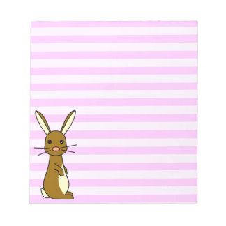 Bunbun - Cute Rabbit Pink Stripes Notepad