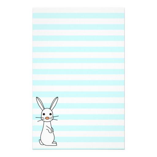 Bunbun - Cute White Rabbit and Stripes Stationery